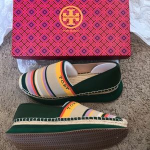 TORY BURCH green striped Daisy Trainer flats shoes